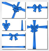 Set of blue gift bows for design packing — Stock Vector