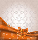 Cute brown backdrop with ribbon bow — Stock vektor