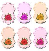 Sammlung schöne etiketten mit rosen — Stockvektor