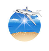 Beautiful summer postcard with beach and plane — Stock Vector