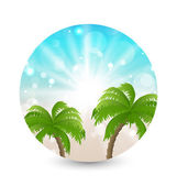 Summer holiday picture with sunlight and palm leaves — Stock Vector