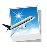 Photo frame with plane isolated on white background — Stock Vector