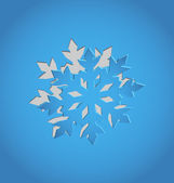 Cut out Christmas snowflake, blue paper — Stock Vector