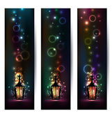 Set islamic light banners with lantern — Stockvektor