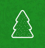 Green paper cut-out christmas tree — Stock Vector