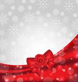 Feestelijke achtergrond met cadeau boog en rose — Stockvector