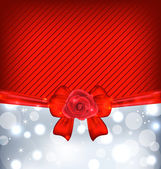 Festive background with gift bow and rose — Stock Vector