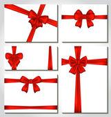 Set di fiocchi regalo rosso per il disegno di imballaggio — Vettoriale Stock