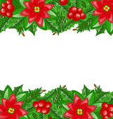 Christmas decoration with holly berry and poinsettia — Stock Vector