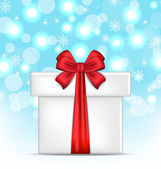 Gift box with red bows on glowing background — Vector de stock