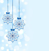 Christmas three snowflakes with bows — Stock Vector