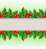 Christmas card with holly berry branches — Stock Vector