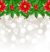 Christmas glowing background with holly berry and poinsettia — Stock Vector