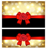 Brillant cartes de noël avec des arcs de cadeau et de roses — Vecteur