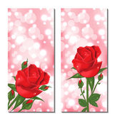 Set of beautiful cards with red roses — Stock Vector
