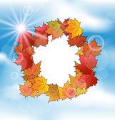 Tarjeta de otoño con hojas de arce sobre cielo azul — Vector de stock