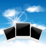 Set photos sur fond de ciel bleu — Vecteur