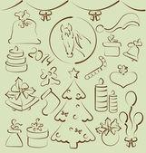 χριστουγεννιάτικη set στυλιζαρισμένη χέρι στοιχεία, που — 图库矢量图片