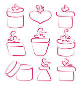 Hand drawn set gift boxes for your anniversary — Stock Vector