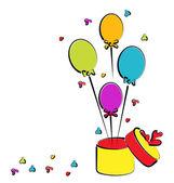 откройте подарочная коробка с шарами для вашего дня рождения, красочный эскиз — Cтоковый вектор