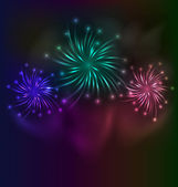 Colorful fireworks background with place for text — Stock Vector