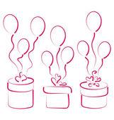 あなたの記念日のための風船をギフト ボックスを設定します。 — ストックベクタ