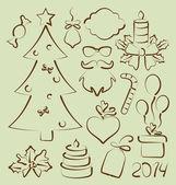 Weihnachtsset elemente stilisierte hand gezeichnet — Stockvektor