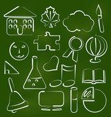 Configurar los iconos de la escuela en estilo doodle tiza — Vector de stock