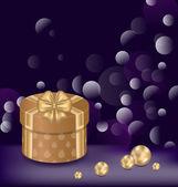 Jul bakgrund med presentask och pärlor — Stockvektor