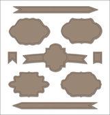 Set leather ribbons, vintage labels, geometric emblems — Stock Vector