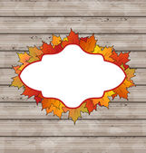 Autumn emblem with leaves maple, wooden texture — Stock Vector