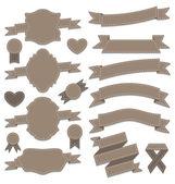 Grup deri şeritler, vintage etiketleri, geometrik amblemler — Stok Vektör