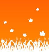 Autumn background with flying maples and grass — Stock Vector
