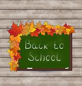 Conselho da escola verde com folhas de textura de madeira — Vetorial Stock