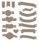 Ange läder band, vintage etiketter, geometriska emblem — Stockvektor