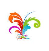 Grupo colouful artística las plumas con tinta — Vector de stock