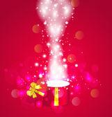 Boże narodzenie tło z otwartym magiczne pudełko — Wektor stockowy