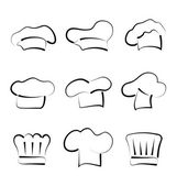 Set of chef hats isolated on white background, sketch style — Stock Vector