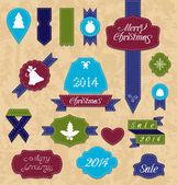 Natale imposta variazione etichette e nastri — Vettoriale Stock