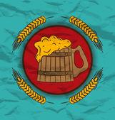 Trigos e poster retro de madeira caneca cerveja — Vetor de Stock