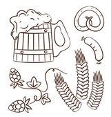 Octoberfest cartoon design elements (1), hand drawn style — Stock Vector