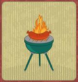 Tarjeta de barbacoa con chorizo y llama — Vector de stock