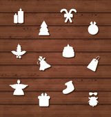 Set Christmas design elements on wooden texture — Stock vektor