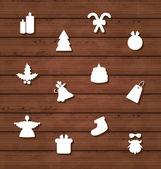 在木质纹理上设置圣诞节的设计元素 — 图库矢量图片