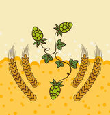 Beer background with hop leaves and wheats — Stock Vector