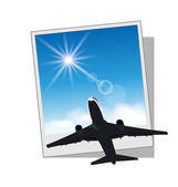 Photo frame with plane and sky — Stock Vector
