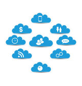 Cloud computing and technology, infographic design elements — Stock Vector