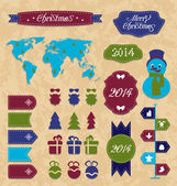 Set Christmas Infographic design elements, group label and ribbo — Stock Vector