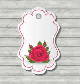 Elegant card with red rose for Valentine Day — ストックベクタ