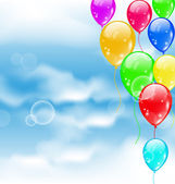 Flying colourful balloons in blue sky — Stockvector